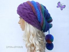 Cable Knit Oversized Beret Neck Warmer Slouchy Sheep by 2HandMade, $31.90