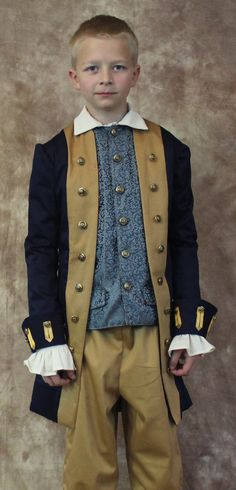 Boys' Size Medium Colonial Separates; George Washington Jacket, Brocade Vest or Breeches--READY TO SHIP--