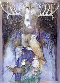 "Cernunnos, god of animals.Cernunnos is the conventional name given in Celtic studies to depictions of the ""horned god"" of Celtic Fantasy Kunst, Fantasy Art, Herne The Hunter, Symbole Viking, Celtic Druids, Pagan Art, Celtic Mythology, Art Graphique, Green Man"