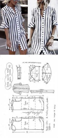 Vestido camisa com manga peplum Dress Sewing Patterns, Sewing Patterns Free, Clothing Patterns, Fashion Sewing, Diy Fashion, Fashion Outfits, Shirt Dress Pattern, Sewing Blouses, Mode Top
