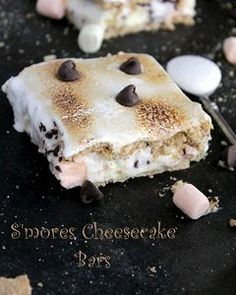 No bake S'mores Cheesecake Bars. A campfire treat to enjoy any time of the year.