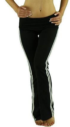 ToBeInStyle Women's Striped Yoga Pants w/ Fold-Over « Clothing Impulse