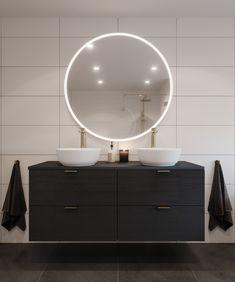 Den gjennomførte stilen med gyldne armaturer og detaljer kombinert med hvite rene veggfliser og sorte gulvfliser gir dette badet en tøff og elegant stil. Den nye Emil dusjløsningen med gulldetaljer og 8mm glass gir rommet et moderne og stilfullt design.