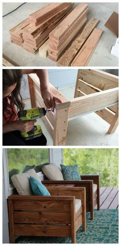 Outdoor furniture diy project porch furniture patio furniture deck furniture outdoor living summer stained wood diy furniture stain it any color just add cushions and pillows cottage decor outdoor decor home decor diy decor easy to make o Woodworking Projects Diy, Diy Wood Projects, Woodworking Tools, Popular Woodworking, Diy Summer Projects, Diy House Projects, Youtube Woodworking, Woodworking Workshop, Grizzly Woodworking