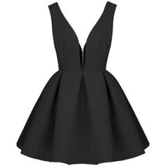 SheIn(sheinside) Black V Neck Backless Midriff Flare Dress featuring polyvore, fashion, clothing, dresses, vestidos, short dresses, sheinside, black, black mini dress, black cocktail dresses, mini dress and short black dresses