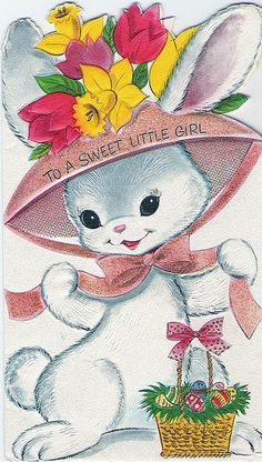 To a sweet little girl - Easter bunny card 1963