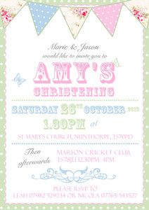 Perfect invitation! Christening Invitations, Birthday Invitations, Vintage Bunting, Girl Christening, Baby Hacks, Mommy And Me, Rsvp, Carnival, Baptism Ideas