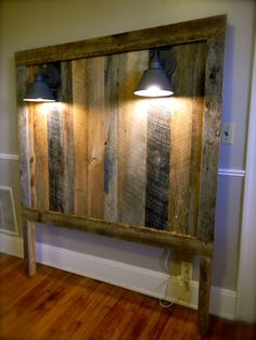 Barnwood Headboard w/lighting Gage Collection by ReBarnCHF on Etsy