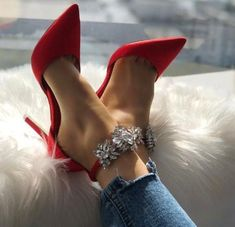 Pretty Shoes, Beautiful Shoes, Cute Shoes, Red Shoes, Red High Heel Shoes, Satin Shoes, Gorgeous Heels, Fancy Shoes, Shoes Style
