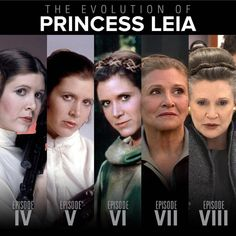 Star Wars 'Evolution' of Princess Leia (Carrie Fisher died aged 60 of a heart attack) Star Wars Love, Star War 3, Star Wars Art, Star Trek, Carrie Fisher, Star Wars Brasil, Funny Screen Savers, Images Star Wars, The Blues Brothers