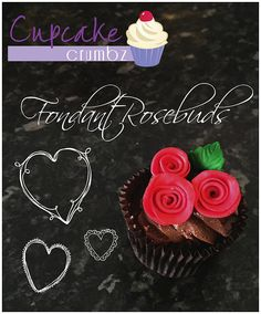 Fondant Rosebuds for cupcakes Valentine's Day Cupcake Crumbz - Adeaide Hills Cakes and Cupcakes Valentine Day Cupcakes, Valentines Day, Rose Buds, Fondant, Cupcake Cakes, Posts, Blog, Valentine's Day Diy, Messages