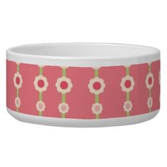KRW Raspberry Lime Floral Stripe Large Pet Dish