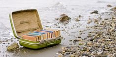 A desert island, a suitcase of good books. I Love Books, Books To Read, Happiness Project, Shandy, Desert Island, Book Nooks, Love Reading, Beach Reading, Reading Room