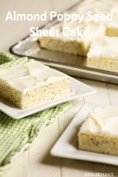 This almond poppy seed sheet cake is soft, spongy and has an amazing flavor! Add some easy cream cheese frosting and you have the most amazing simple dessert! Sheet Cake Pan, Sheet Cake Recipes, Dump Cake Recipes, Frosting Recipes, Köstliche Desserts, Delicious Desserts, Dessert Recipes, Cupcakes, Cupcake Cakes