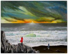 Acryl/Leinwand (Überarbeitet) 40 cm x 50 cm x 1,5 cm Preis 470,- Euro  Abendstimmung