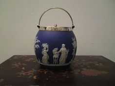 Antique 19th century Victorian Wedgwood Jasperware blue dip biscuit barrel