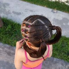Image may contain: one or more people and outdoor Work Hairstyles, Baddie Hairstyles, Braided Hairstyles, Toddler Hairstyles, Girls Hairdos, Cute Little Girl Hairstyles, Wacky Hair Days, Hair Due, Hair Videos