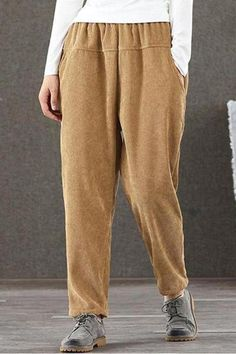 The casual puff long casual pants with pocket is a good choice of fashion and you will love it . Chiffon Pants, Pleated Pants, Straight Trousers, Slim Pants, Casual Pants, Latest Fashion Design, Elastic Waist Pants, Colored Pants, Corduroy Pants