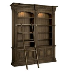 Double Bookcase Set with Ladder, & Rail #rusticdesk | National Business Furniture