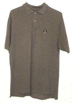 IZOD Mens Grey Pique 100% Cotton Short Sleeve Embroidered Logo Polo Shirt Medium #IZOD #PoloRugby