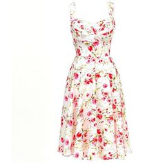 Unique Vintage Ivory Floral Happily Ever After Swing Dress ❤ liked on Polyvore featuring dresses, vintage, floral dress, vintage white dress, ivory dress, flower print dress and tent dress