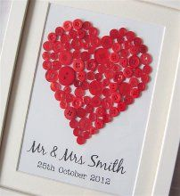 Unique personalised framed pictures hand crafted from buttons