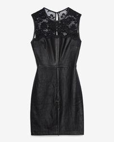 Leather and lace sheath dress