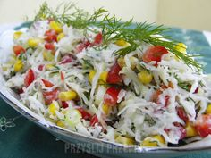 Surówka z kalarepy Cobb Salad, Cabbage, Grains, Rice, Vegetables, Cooking, Salads, Kitchen, Cabbages