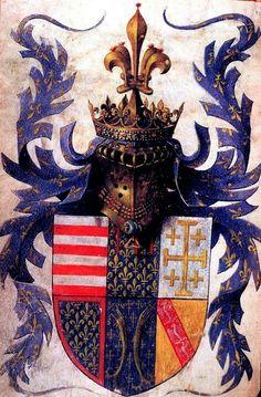 """Armas. Livro de Horas, Utilização de Paris (""""As Horas de René d'Anjou""""). França, SE (Aix-en-Provence), c. 1442 - 1443. Medieval Imago & Dies Vitae Idade Media e Cotidiano."""
