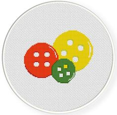 (10) Name: 'Embroidery : Buttons Cross Stitch Pattern