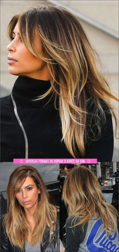 Brunette going for  balyage highlights or somber, ombre, this is the perfect way and amount of blonde/ bronde..  Kim Kardashian