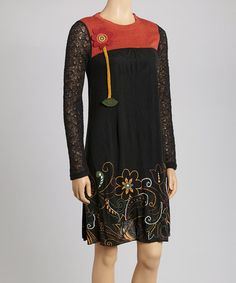 Take a look at this Black Floral Embroidered Dress by Coline USA on #zulily today!