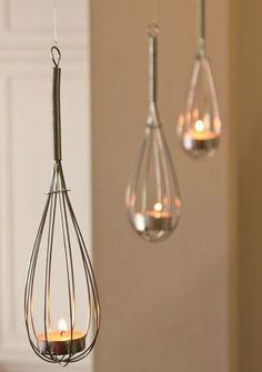 Whisk + Tea Lights = Super Cute Lighting Idea!