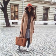Camel coat and orange hat look today: http://themysteriousgirl.ro/
