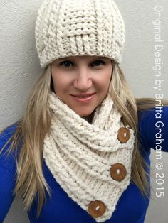 Cabled Scarf Crochet Pattern for chunky yarn - Fisherman Neck Wrap with FREE crochet hat pattern