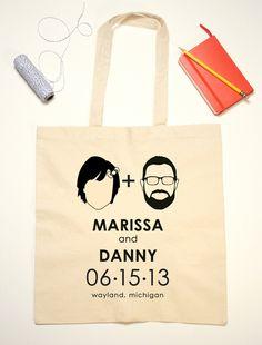 Tote Bag Wedding Favor Couple Silhouettes by jackandjillwedding. $12.00, via Etsy.