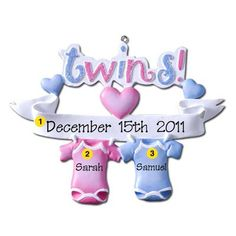 Twins (Boy and Girl) Personalized Christmas Ornament