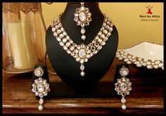 "‪#‎BridalFashion‬ No Bridal ensemble is complete without jewelry.. heart emoticon Bridal jewelry enhances the beauty of the bride. Bridal jewelry in India should necessarily be extravagant and flamboyant so as to make the bride stand apart from the crowd. ""The more you wear, the lesser it is..""  Take a sneak peek at The Kundan Bridal Jewelry Set only at ‪#‎RentAnAttire‬"