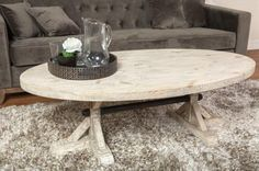 white coffee table oval