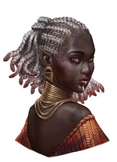 Medusa by Matej Budimir Medusa Drawing, Medusa Art, Medusa Tattoo, Fantasy Concept Art, Fantasy Rpg, Black Characters, Fantasy Characters, Dnd Characters, Black Girl Art