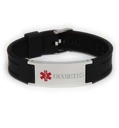 Diabetes Black Silicone Adjustable Medical ID Bracelet diabetes *** This is an Amazon Associate's Pin. Clicking on the VISIT button will lead you to find the item on the website.
