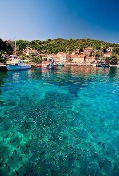 La côte paradisiaque de la petite île de Korcula ,