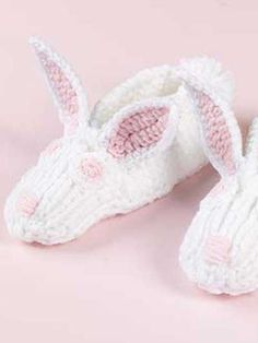Free Knit Bunny Slippers Pattern Download from Freepatterns.com -- Knit a pair of cozy bunny slippers for your child or grandchild.