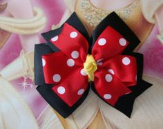Large Minnie Mouse Disney Red and Black Double by MyLuckyHairBow