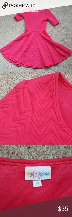 Lularoe Nicole Dress - Medium EUC ***MUST BE SOLD BY JULY 31 OR WILL GO TO GOODWILL***  Gorgeous hot pink Nicole dress! It was love at first sight, but I'm cleaning out my closet and this lady just doesn't get enough public appearance. Only worn twice, washed to LLR standards. Patterned and quilted fabric. Please note that due to the fabric, it has a little more weight to it than the typical cotton or poly blends, and a little less stretch. LuLaRoe Dresses Midi