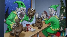 Zombie Christmas Elves by VooDooWilly on Etsy.  Christmas card, $2.99