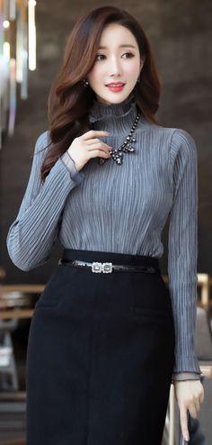 StyleOnme_Shimmery Pleated High Neck Blouse Tee #elegant #feminine #highneck #blouse #koreanfashion #wintertrend #seoul #kstyle