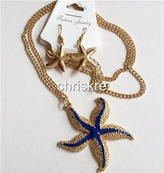 Gold Plated Starfish Necklace Earrings Set Sea Life Blue Enamel Beach 30 Inch #SouthMiamiBeachBoutique #Pendant