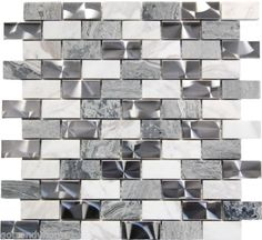 The mix of the stainless steel and stone give this metal mosaic tile a wonderful level of depth and a unique quality that can't be compared to plain single color tiles. Description from houzz.com. I searched for this on bing.com/images