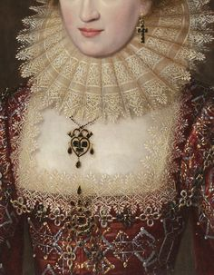 Portrait of a Lady in Red Dress (detail) English School, c. 1615